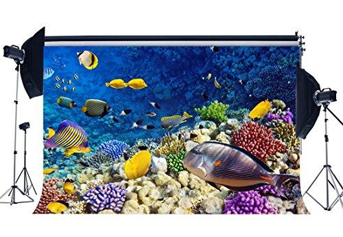 Gladbuy Vinyl 5X3FT Underwater World Backdrop Aquarium Backdrops Fancy Coral Rocks Fish Bubble Sea World Photography Background for Kids Adults Summer Holiday Ocean Sailing Photo Studio Props KX376 -