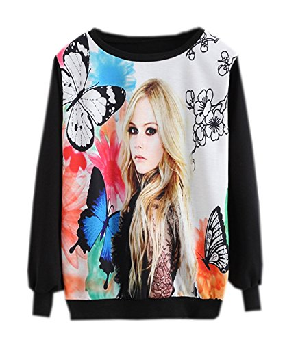 EkarLam Women's Spring Fall Cotton Blend Unique Printed Loose Hoodie Sweater Butterfly Missy Printed Free Size