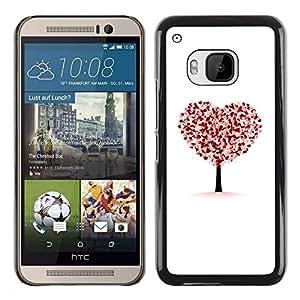 FECELL CITY // Duro Aluminio Pegatina PC Caso decorativo Funda Carcasa de Protección para HTC One M9 // Heart Tree Autumn Fall White Love Deep
