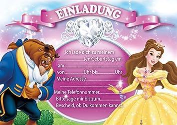 10 Einladungen Zum Kindergeburtstag Belle (mit Weißen Umschlägen)