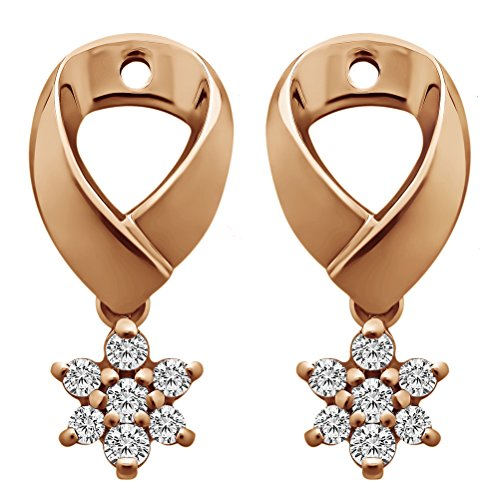 1/5 ct. Charles Colvard Created Moissanite Moissanite Flower Dangle Earring Jackets in Rose Gold Plated Sterling Silver (0.18 ct. twt.) by TwoBirch