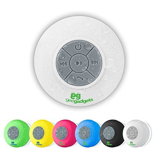 White Waterproof Portable Bluetooth Speaker With Shower Suction-Cup and Hanging Hook - Built In Mic -Hands Free Phone and Wireless Music Player - Gee Gadgets HD Sound and Bass by Gee Gadgets