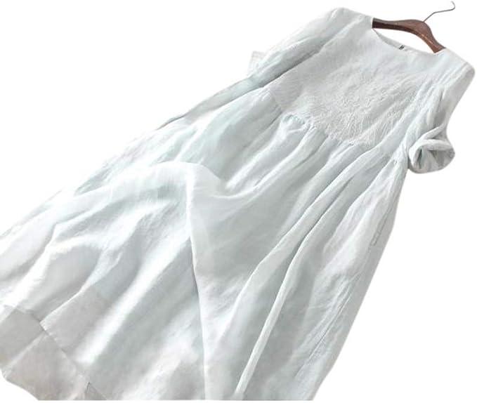 SHIYUPING Falda Larga de Lino y algodón Fino Verde Claro Falda ...