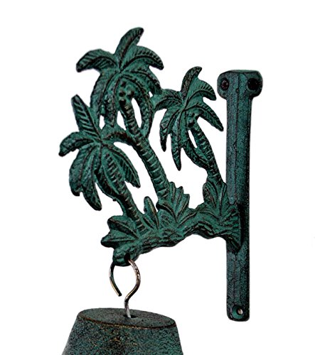 6w-Verdigris-Patina-Finish-Palm-Trees-Iron-Wall-Mount-Bell