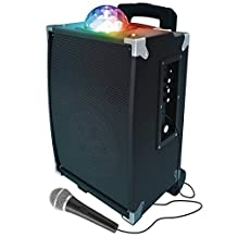 Sharper Image SBT1009BK On-The-Go Party Speaker with Disco Ball, Tailgate, Karaoke Function and Rechargeable, Black