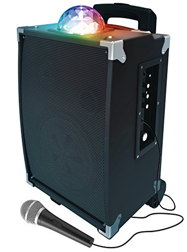 sharper-image-sbt1009bk-on-the-go-bluetooth-party-speaker-with-disco-ball-light-show-tailgate-karaok