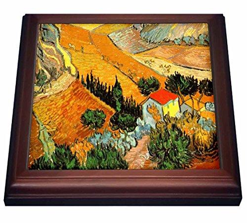 """3dRose trv_48156_1 Van Gogh Landscape Trivet with Ceramic Tile, 8 by 8"""", Brown"""