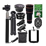 KOBWA Cell Phone Lens, 4 in 1 Lens Set 12X Telephoto Lens +
