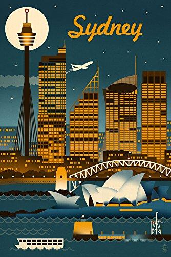 Sydney  Australia   Retro Skyline  9X12 Art Print  Wall Decor Travel Poster