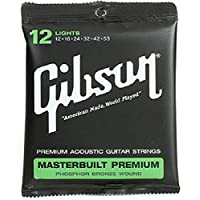 Gibson Gear Masterbuilt Premium Phosphor Bronze Acoustic Guitar Strings, Light (12-53)