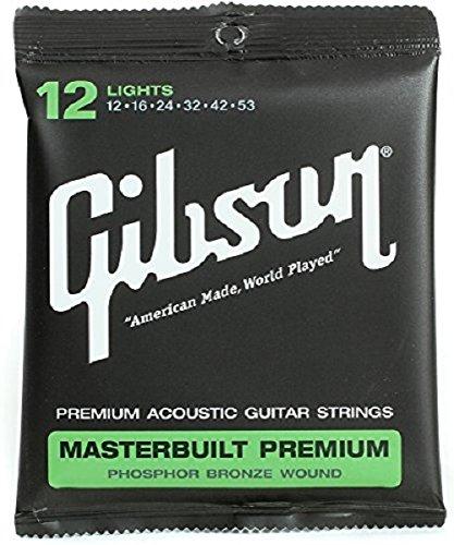 Cuerdas de guitarra acústica Gibson Masterbuilt Premium Phosphor Bronze, Light 12-53