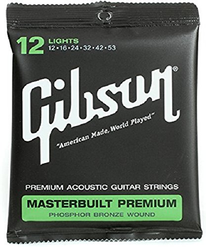 Gibson Masterbuilt Premium Phosphor Bronze Acoustic Guitar Strings, Light 12-53 (Bronze Lite 12 String)