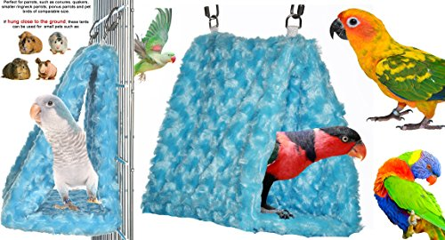 Cozy Parrot Hideaway Tent - Perfectly sized for conures, quaker parrots, rosellas, ringneck parrots and birds of similar size - Available as Single or Tent/Hammock Combinations - Made in the USA (Sky Blue SINGLE)