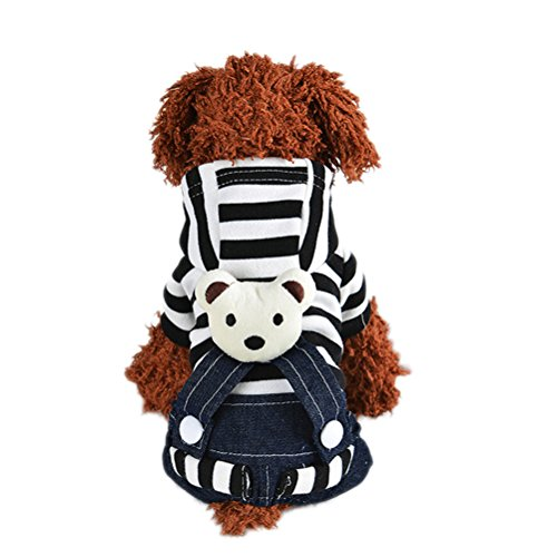 [Uniquorn 2016 Winter New Dog Clothing Fashion Cute Striped Bear Strap Trousers Teddy Poodle Warm And Comfortable Dog] (Beautiful Witch Costumes)