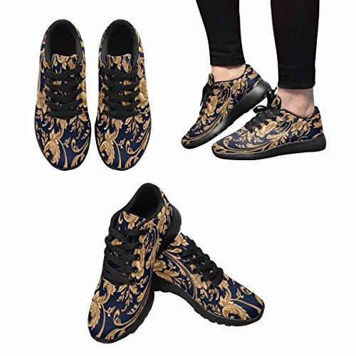 Interestprint Mujeres Jogging Running Sneaker Ligero Go Easy Walking Comfort Deportes Zapatos Atléticos Patrón De Oro Decorativo EleHombresto Floral