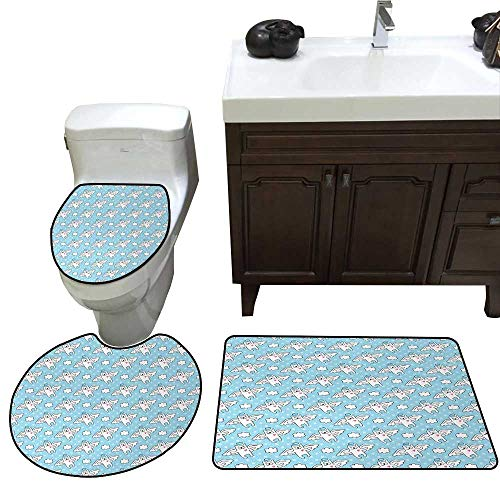 John Taylor Angel Bath Toilet mat Set Cat Angels Flying High Hearts Happiness Kids Nursery Kitty Love Heavenly Wings Toilet Rug and mat Set Sky Blue White