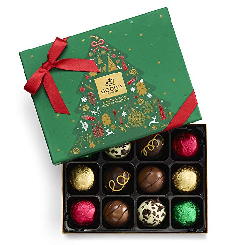 Godiva Chocolatier Assorted Chocolate Truffles Gift Box, Holiday Collection, Limited Edition, 12-Pieces, 8.2 Ounce