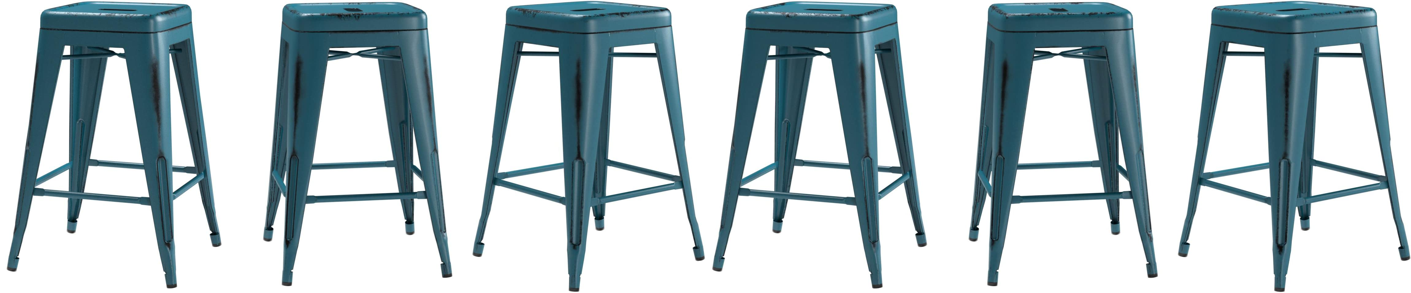Amazon.com: Flash Furniture 24\'\' High Backless Distressed Kelly Blue ...