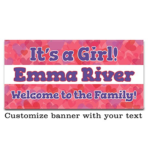 Buttonsmith Hearts Custom Vinyl Banner 3'x6' - Indoor/Outdoor - Personalize with Your Text - Designed, Printed, and Assembled in USA