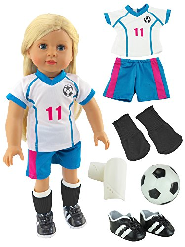 [Pink & Teal Soccer Player Outfit with Uniform, Shin Guards, Socks, Soccer Ball, and Shoes | Fits 18
