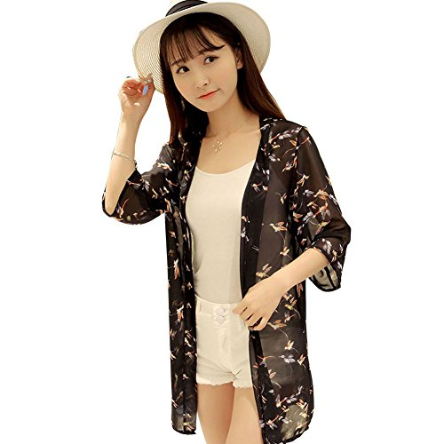 Mod Birds - KJAHSLK Women Casual Loose Blouse Tops Chiffon UV Sun Protective Long Sleeve Coat Cardigan(Bird MOD.Black)