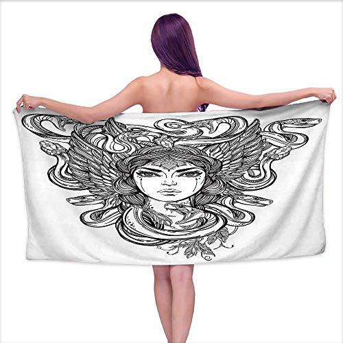 Bensonsve White Bath Towels Occult,Sketch of Tribal Spiritual Female Woman Portrait Folk Queen Mythical Medusa Icon,Black White,W12 xL35 for Bathroom Striped