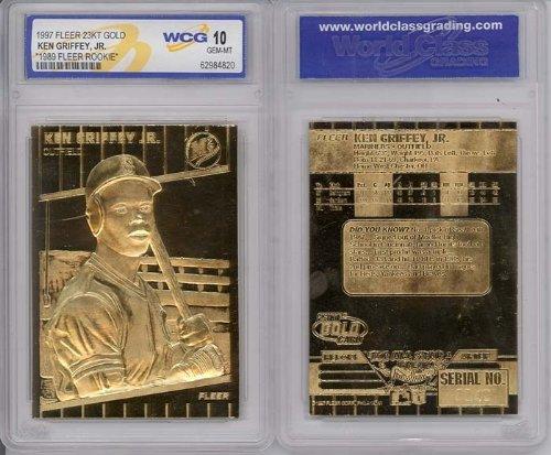 Gold Baseball Cards - baseball cards 1997 Ken Griffey JR Fleer 23K Gold Rookie GEM Mint 10