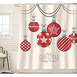 Sunlit Red Holiday Star Ornaments and Snowflake Christmas Ball Christmas Shower Curtain