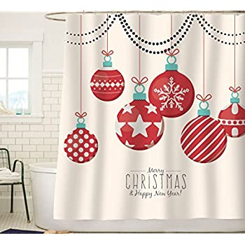 Sunlit Red Holiday Star Ornaments And Snowflake Christmas Ball Shower Curtain Fabric Decorations Festive Window