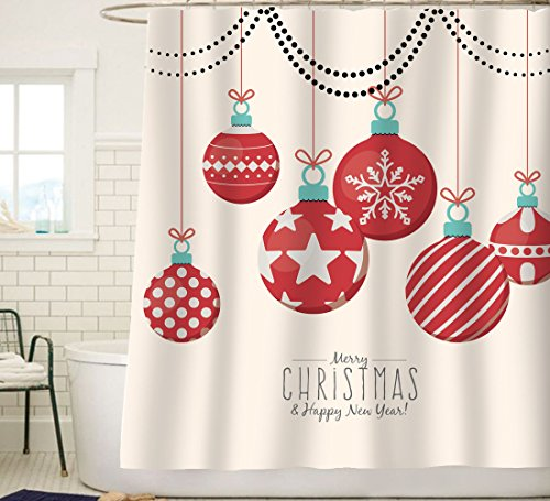 Snowflakes Ball (Sunlit Red Holiday Star Ornaments and Snowflake Christmas Ball Christmas Shower Curtain Fabric Decorations Festive Window Curtain Home Decor)