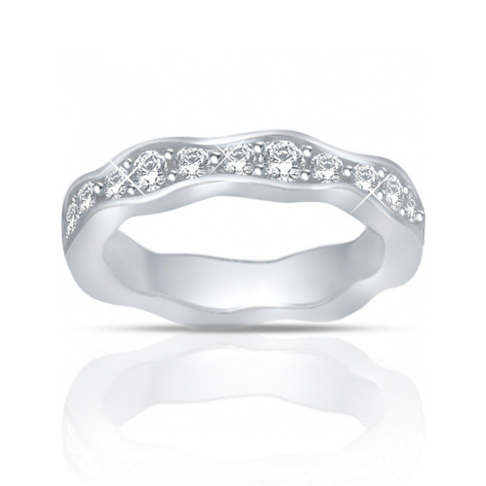 1.25 ct Round Cut Diamond Eternity Wedding Band Ring New Style in 18 kt White Gold In Size 12
