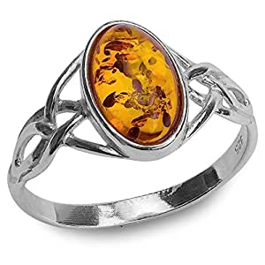 Amazon Com Sterling Silver Amber Celtic Ring Jewelry