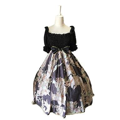 Amazon.com: Yiingluofu Halter Strapped Vintage Gothic Black Lolita ...