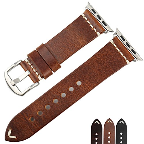 Vintage Watch 5 (MAIKES Vintage Oil Wax Leather Apple Watch Strap 5 Colors Available For Apple Watch Band 42mm 38mm Series 3 2 1 iWatch Watchband (Band For Apple Watch 38mm, Light Brown+Silver Buckle))