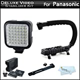 Deluxe LED Video Light + Video Stabilizer Kit For Panasonic HC-V180K, HC-WXF991K, HC-W580K, HC-V380K, HC-VX981K, HC-VX870K, HC-V770K, HC-WX970K, HC-X920K, HC-V720K, HC-V520K, HC-W850K HD Camcorder