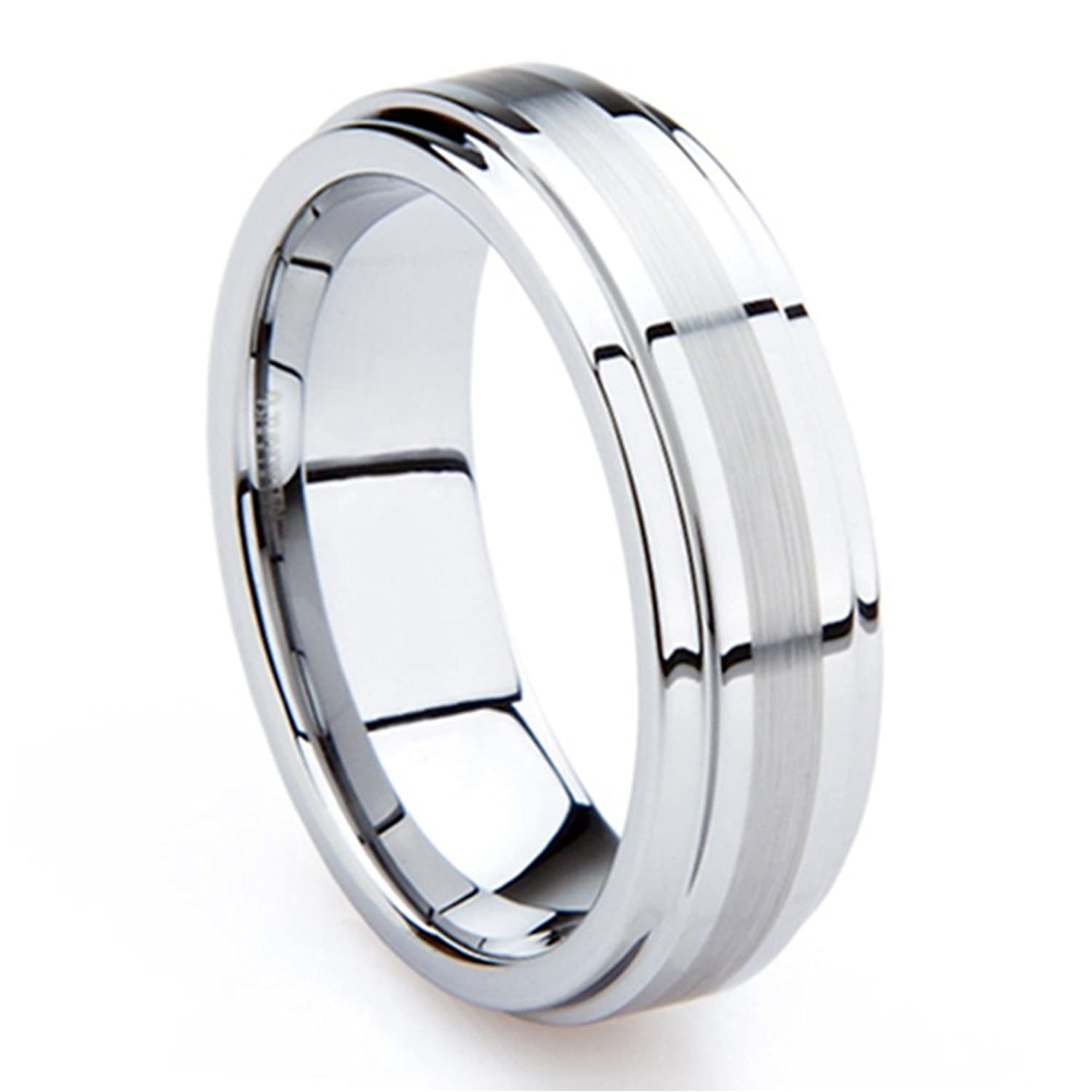 8MM Tungsten Metal Mens Wedding Band Ring In Comfort Fit And Brush Center Sz 120