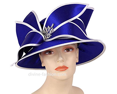 Ms. Divine Collection Women's Hats, Church Hat, Dressy Formal Hats #HL77 (Royal/White) by Ms. Divine Collection