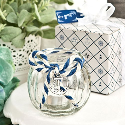 25 Anchor Nautical Themed Clear Glass Round Globe Candle (Blue Favor Holder)