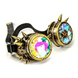 MaxAike1 Steampunk Spiked Goggles Cosplay Colorful Kaleidoscope Sunglasses