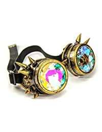 Oudeer Vintage Rustic Cyber Kaleidoscope Goggles Steampunk Welding Goth Cosplay Punk Glasses (Brass Frame)