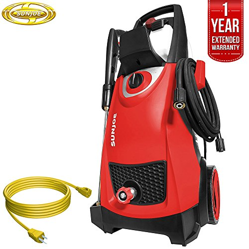 Sun Joe SPX3000 Pressure Joe 2030 PSI Electric Pressure Washer All You Need Bundle with 25 Foot Outdoor Extension Cord and One year Warranty Extension (Red) -