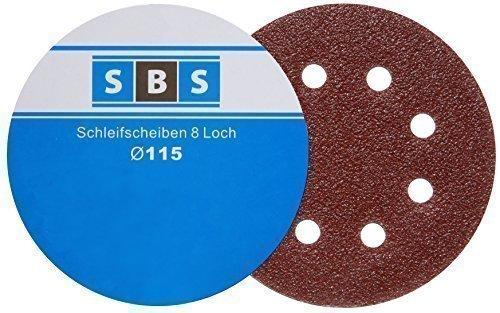 Lot de 100 disques de ponçage vitesse ponceuse Diamètre 115 mm Grain 80 pour Ponceuse orbitale à 8 trous SBS Schlößer Baustoffe