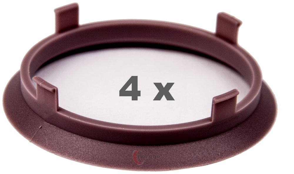 4 x Bague de Centrage 70.1 mm sur 65.1 mm Violet/Violet Pneugo