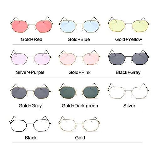 Vintage de de de lente Mujer metálico Gafas transparente Polígono de Moda Diseñador sol pequeño sol hombre marca bastidor gafas hexagonal Amarillo gafas Oro de sol bastidor F8ExRp