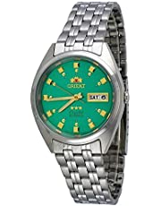 Orient #FAB00009N Men's 3 Star Stainless Steel Green Dial Self Wind Automatic Watch
