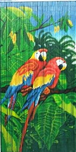 Master Garden Products Tropical Parrot Print Beaded Bamboo -