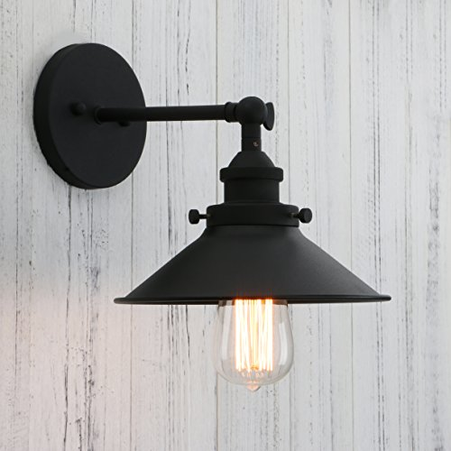 Permo Vintage Industrial Metal Wall Sconce Lighting 180 Degree Adjustable Wall Lamp (Black) - Black Vintage Lighting
