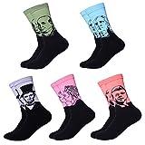 QBSM Men Unisex Couple Funny Art Painting Novelty Fun Cotton Dress Socks 5 Pack