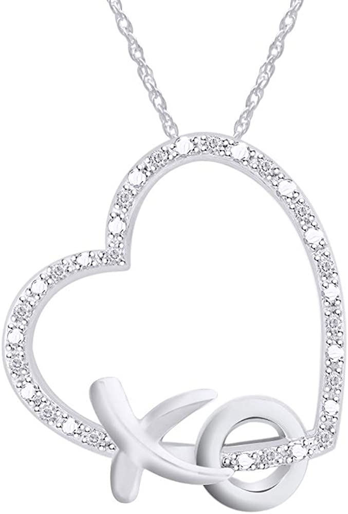 5c8374d9f2a4d Aria Jewels Diamond Accent XO Heart Pendant Necklace in 14k White Gold  Plated 925 Sterling Silver w/ 18