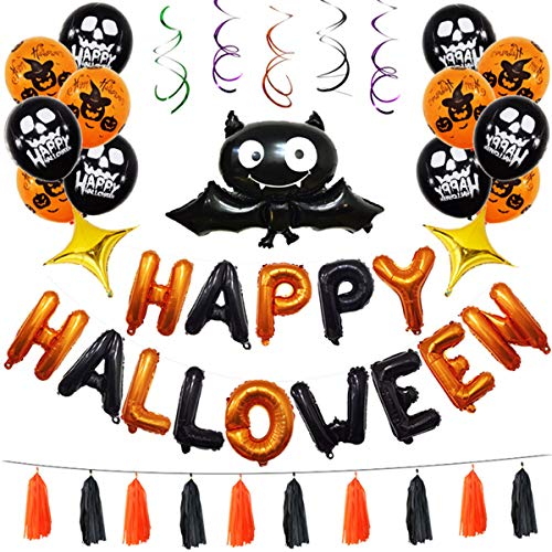 KATEGY Halloween Party Decoration, 45 Pack Halloween Balloons Set Big Bats Latex Balloons Inflatable Banner Ceiling Swirl Hanging for Halloween's Day, Holiday Season Party Decorations